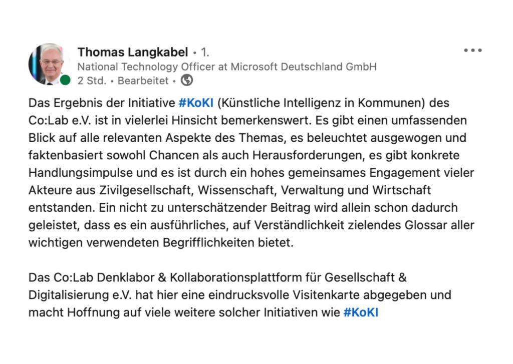 Rezension von Thomas Langkabel auf LinkedIn